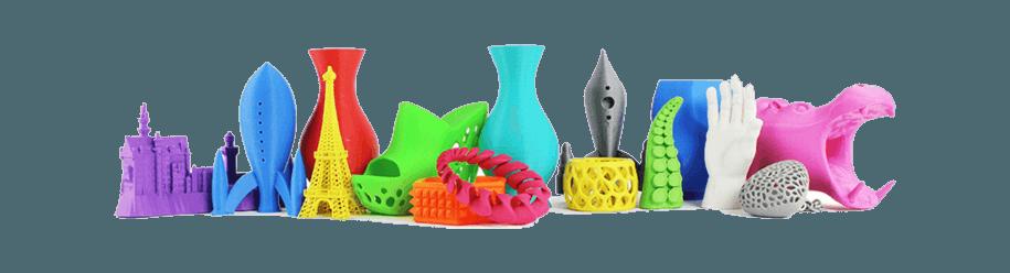 3D yazıcı kullanılarak 3d baskısı alınmış çeşitli nesneler 2