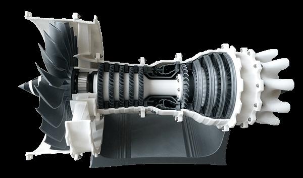 3d yazıcı ile 3d baskı sonucu üretilmiş uçak motoru modeli