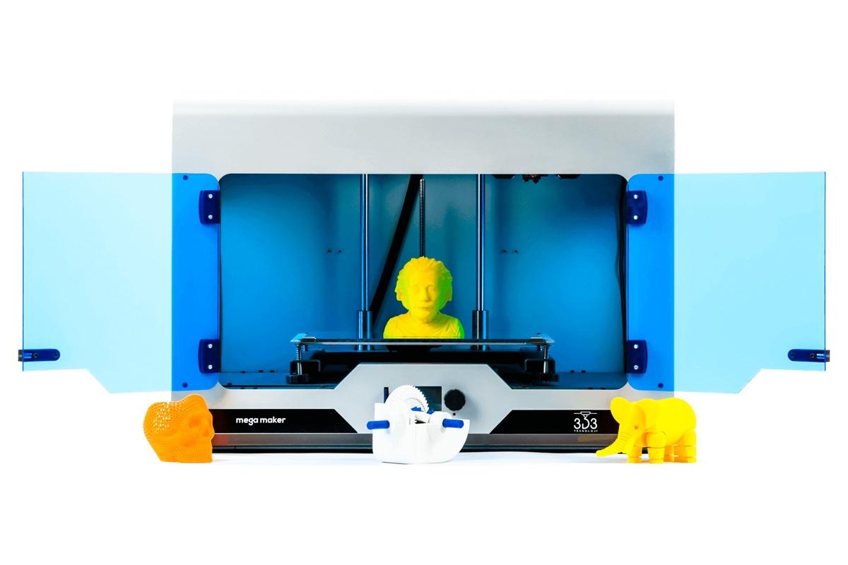3d baskı almak için kullanılan büyük baskı hacimli 3d3 teknoloji markalı megamaker 3d yazıcı